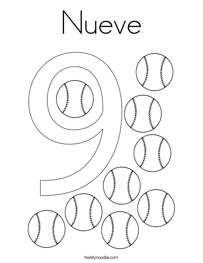 number 9 coloring pages. Nueve Coloring Page Number 9 Pages  Twisty Noodle