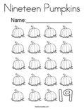 Nineteen Pumpkins Coloring Page