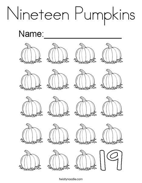 nineteen pumpkins coloring page twisty noodle. Black Bedroom Furniture Sets. Home Design Ideas