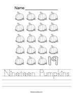 Nineteen Pumpkins Handwriting Sheet