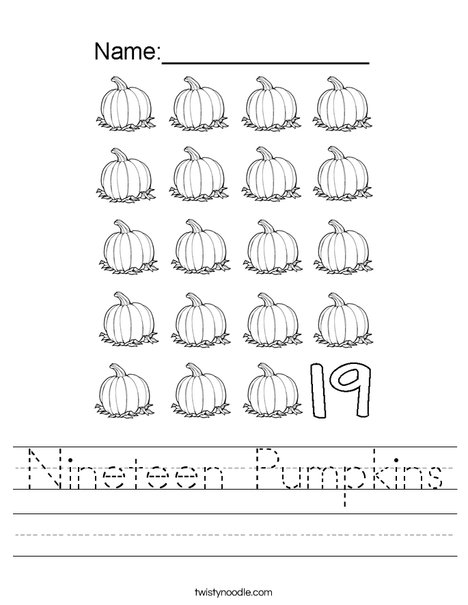 Nineteen Pumpkins Worksheet