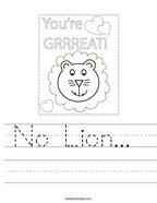 No Lion  Handwriting Sheet