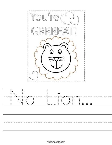 No Lion... Worksheet