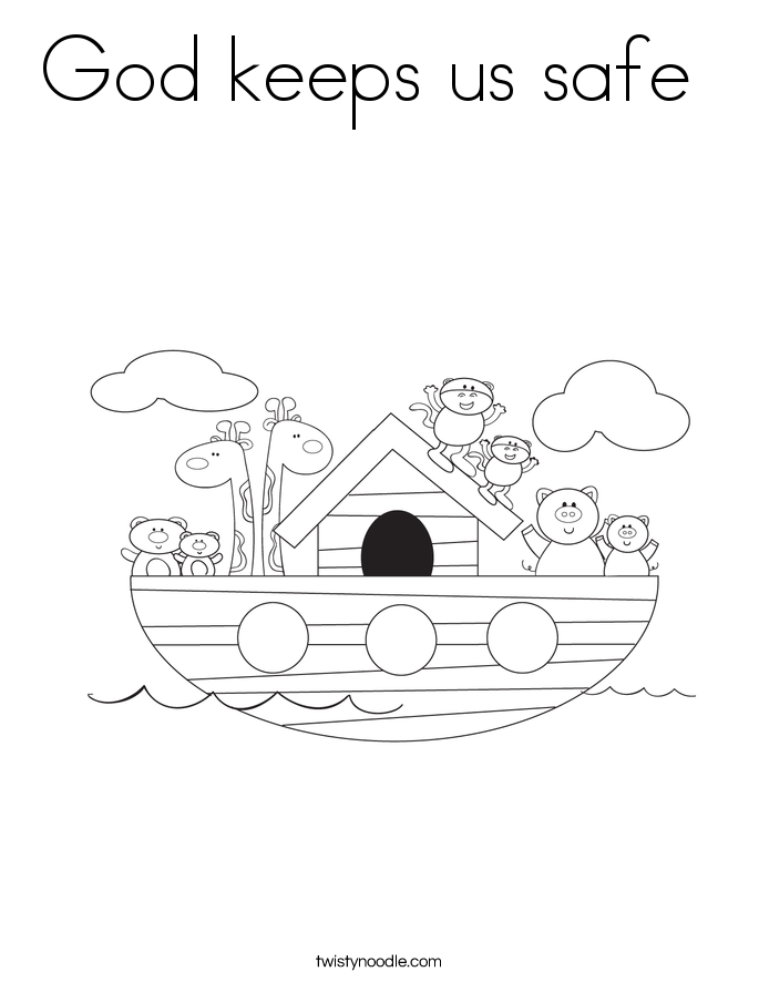 God keeps us safe  Coloring Page