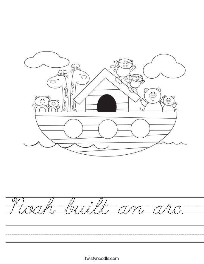 Noah built an arc.  Worksheet