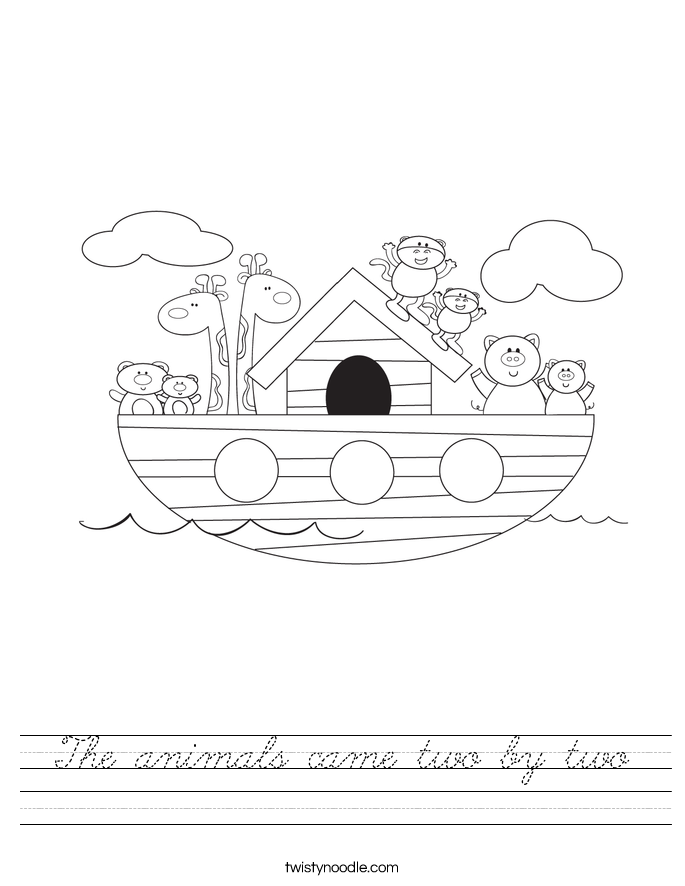 The animals came two by two Worksheet