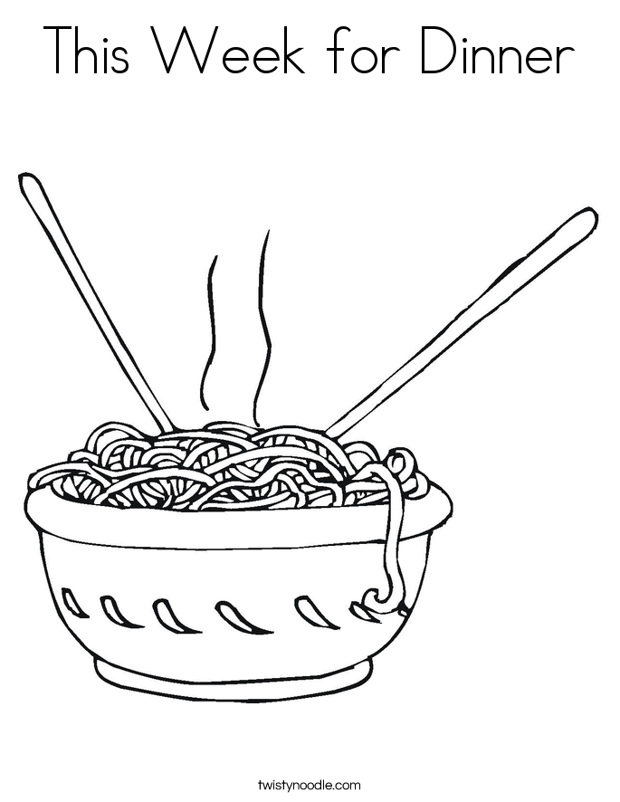 This Week for Dinner Coloring Page