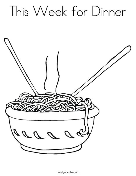 this week for dinner coloring page twisty noodle. Black Bedroom Furniture Sets. Home Design Ideas