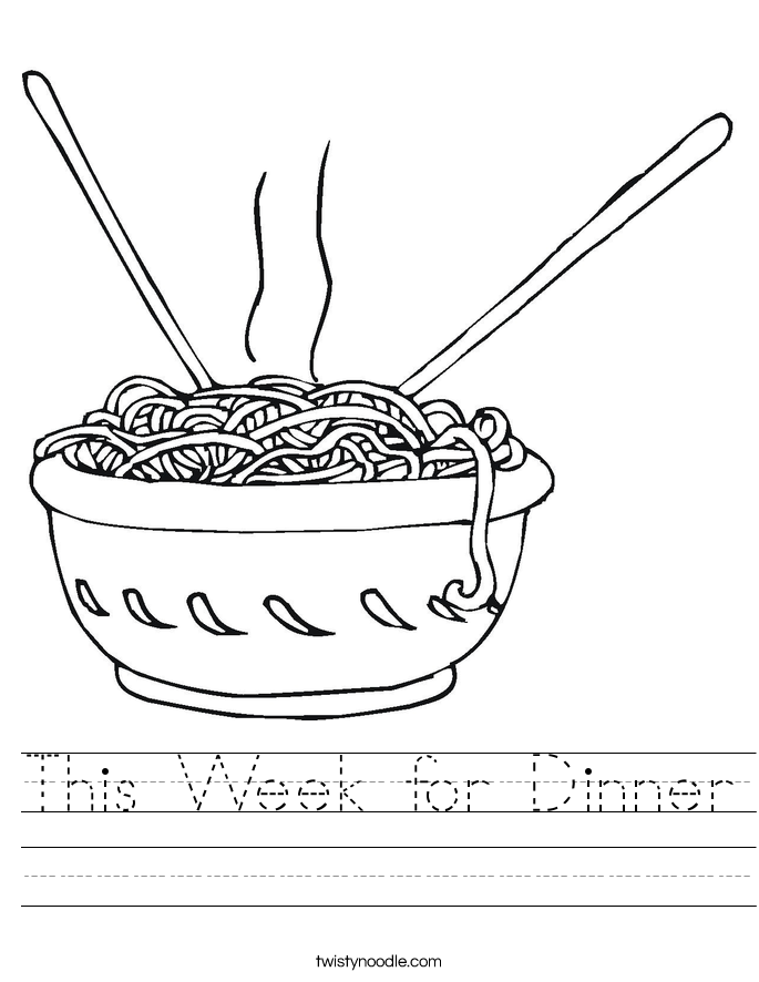 This Week for Dinner Worksheet
