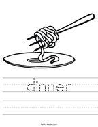 dinner Handwriting Sheet