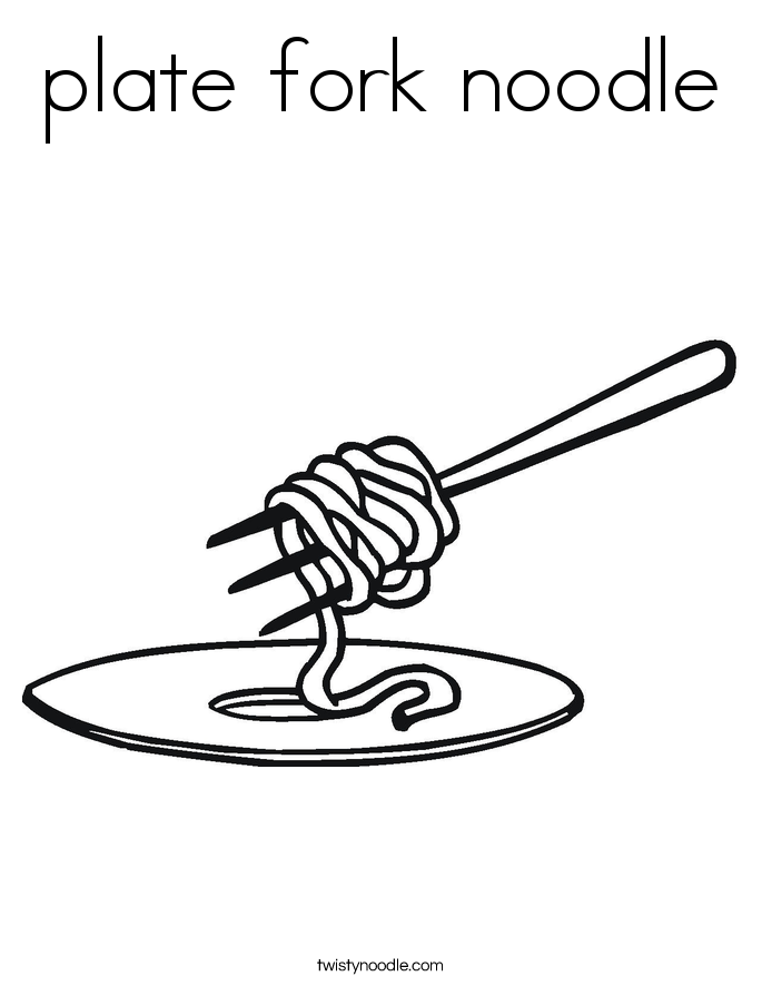 plate fork noodle Coloring Page