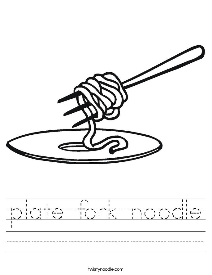 plate fork noodle Worksheet