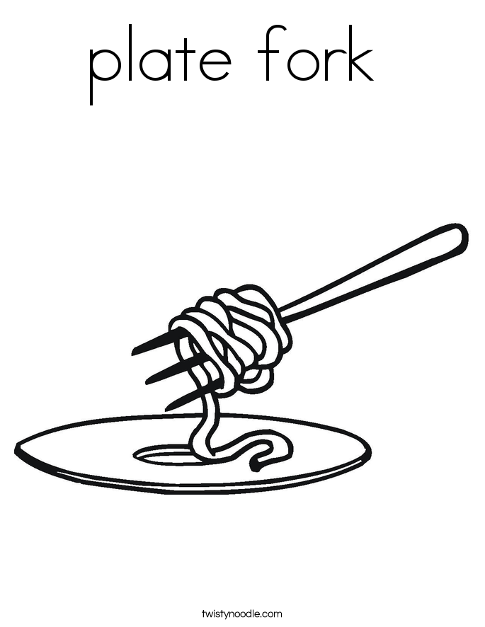 plate fork  Coloring Page