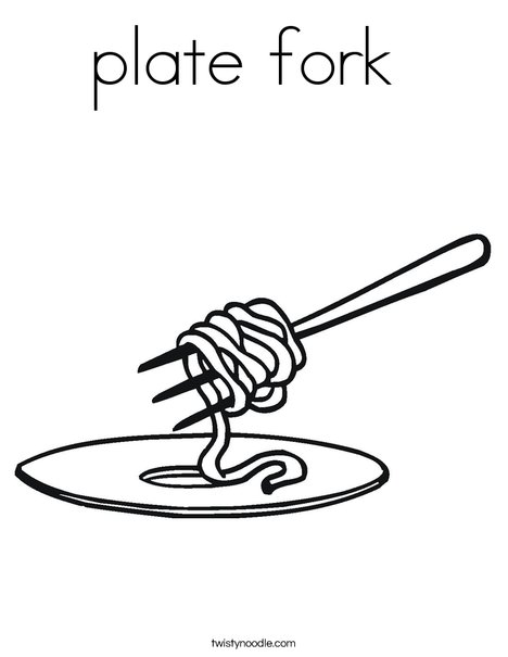 Noodles on a Fork Coloring Page