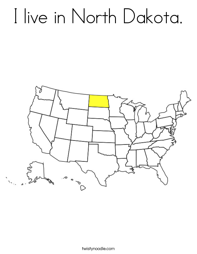 I live in North Dakota. Coloring Page