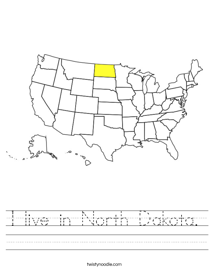 I live in North Dakota. Worksheet