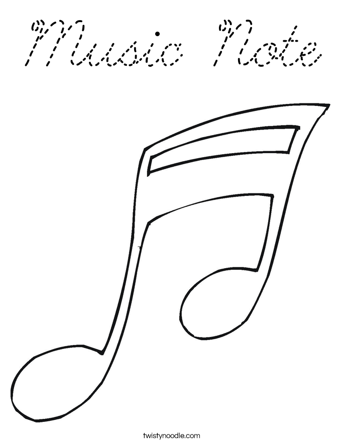 Music note coloring page cursive twisty noodle for Musical notes coloring pages