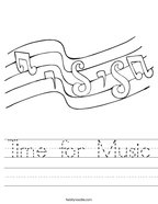 Time for Music Handwriting Sheet
