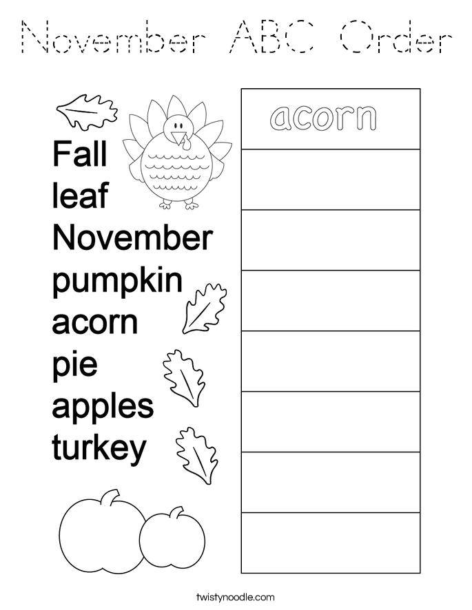 November ABC Order Coloring Page
