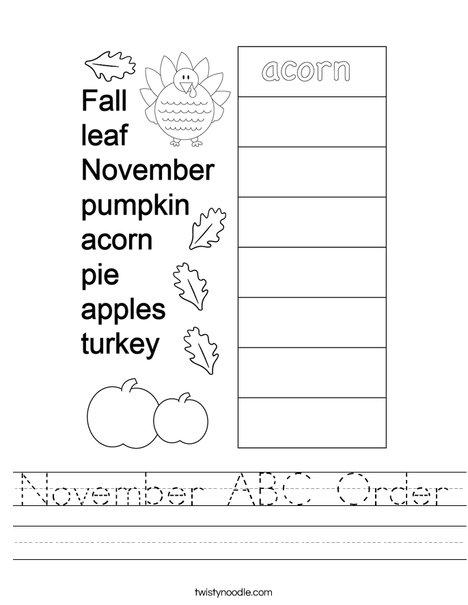 November ABC Order Worksheet