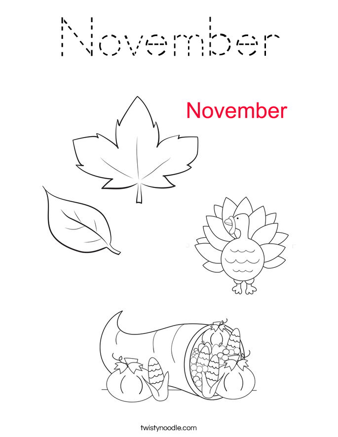 November Coloring Page Tracing Twisty Noodle November Coloring Page