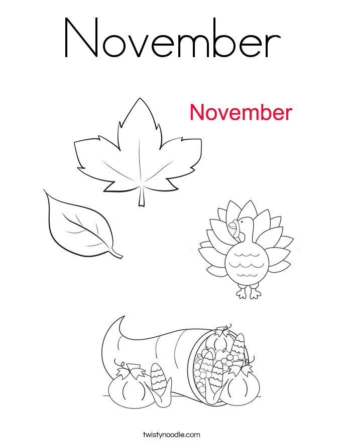 Coloring Pages For November : November coloring page twisty noodle