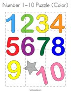 Number 1-10 Puzzle (Color) Coloring Page