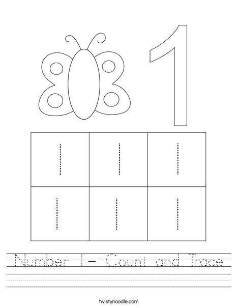 Number 1- Count and Trace Worksheet