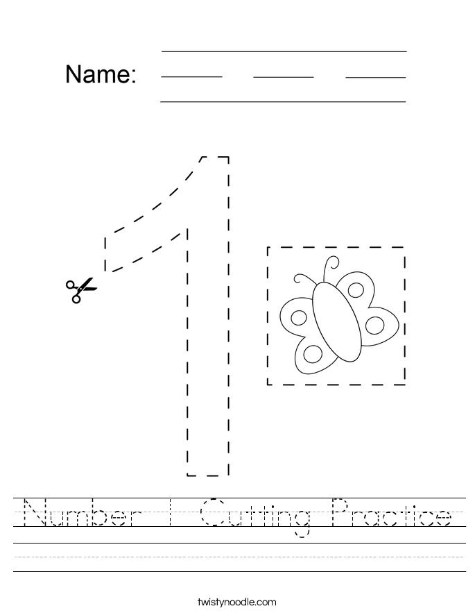Number 1 Cutting Practice Worksheet