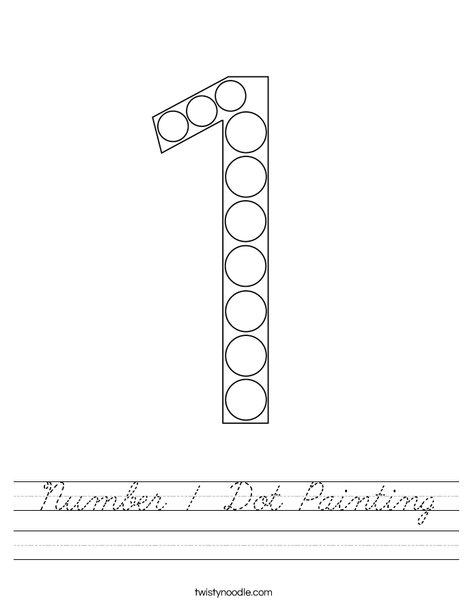 Number 1 Dot Painting Worksheet