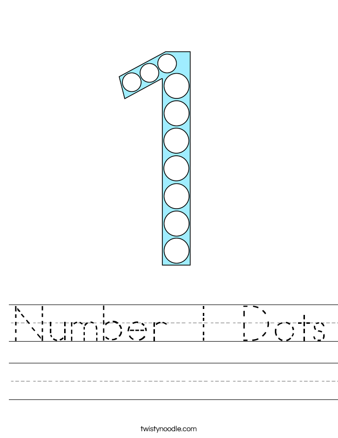 Number 1 Dots Worksheet