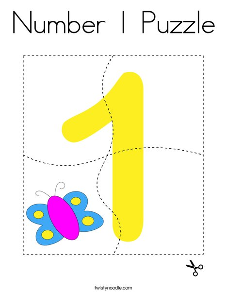 Number 1 Puzzle Coloring Page