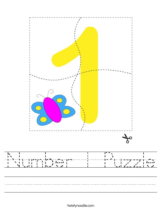 Number 1 Puzzle Worksheet