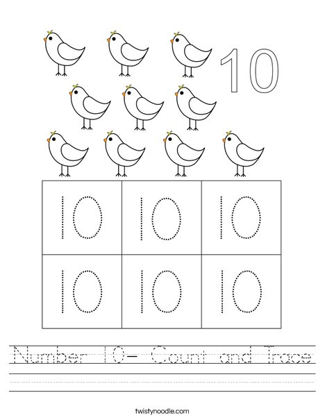Number 10- Count and Trace Worksheet