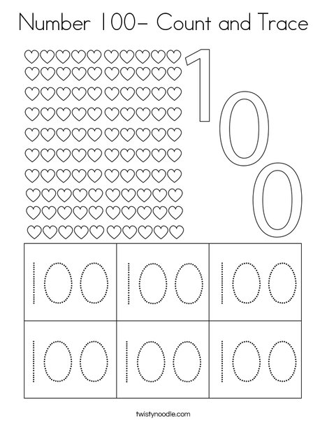 Number 100- Count and Trace Coloring Page