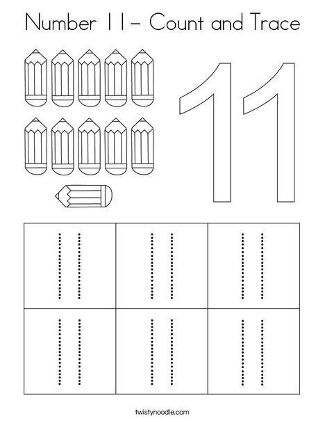 Number 11- Count and Trace Coloring Page - Twisty Noodle