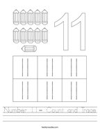 Number 11- Count and Trace Handwriting Sheet