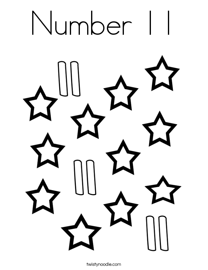 printable coloring pages number 11 | Number 11 Coloring Page - Twisty Noodle