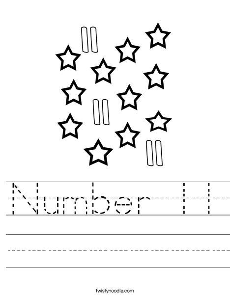 Free Printable Number 11 Worksheet