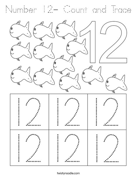 Number 12- Count and Trace Coloring Page - Tracing ...