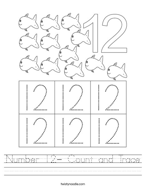 Number 12- Count and Trace Worksheet