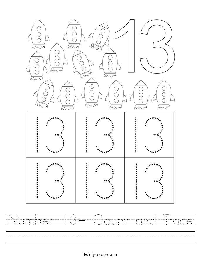 Number 13- Count and Trace Worksheet