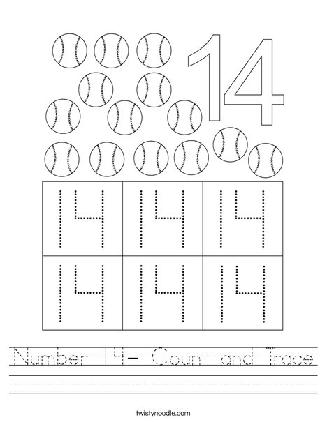 Number 14- Count and Trace Worksheet