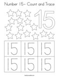 Number 15- Count and Trace Coloring Page