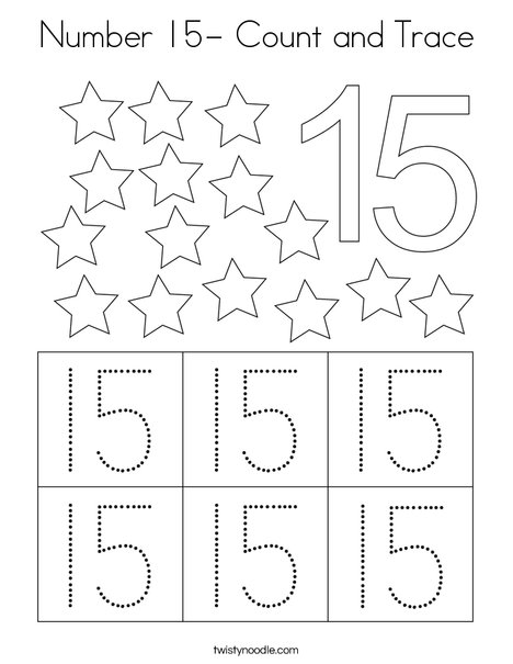 Number 15- Count and Trace Coloring Page - Twisty Noodle