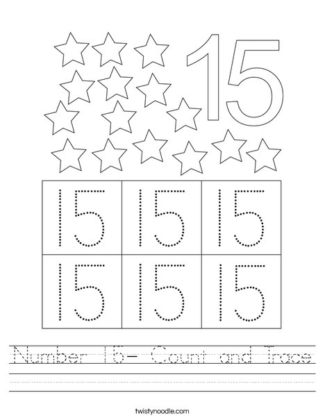 Number 15- Count and Trace Worksheet