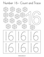 Number 16- Count and Trace Coloring Page