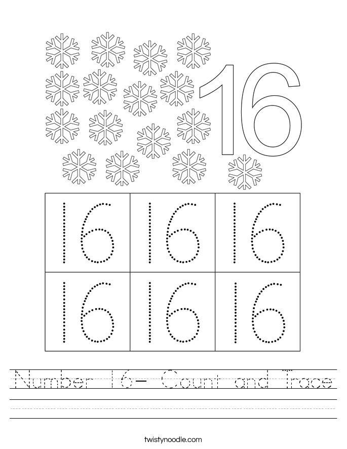 Number 16- Count and Trace Worksheet
