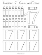 Number 17- Count and Trace Coloring Page