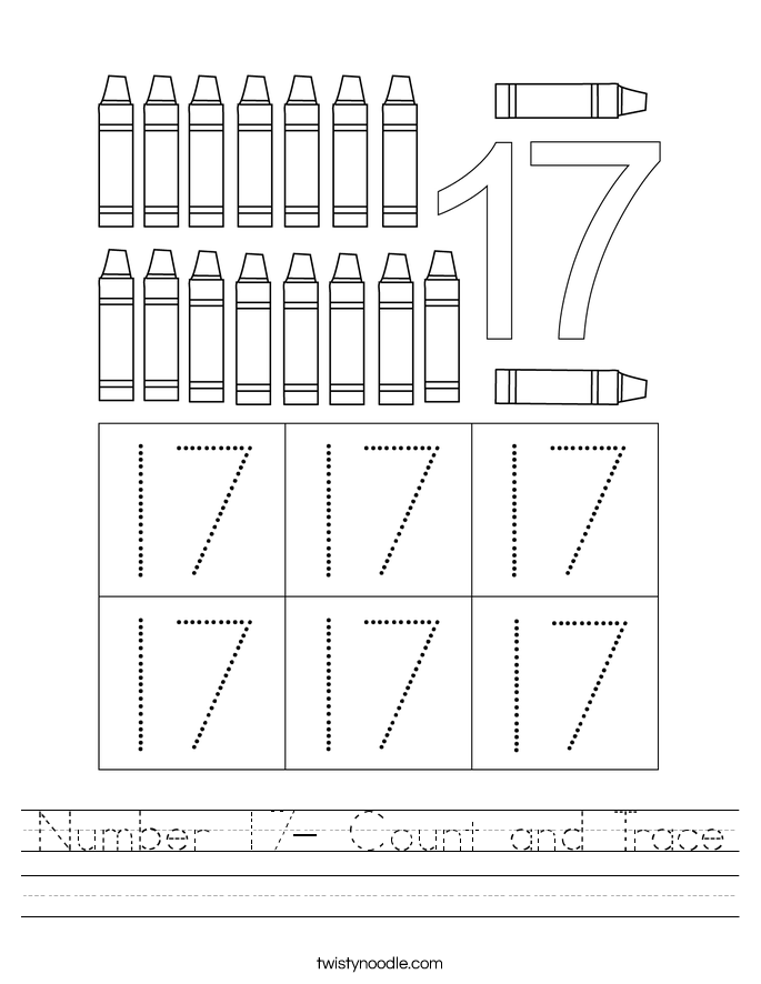 Number 17- Count and Trace Worksheet